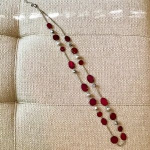 Single Strand Silver Necklace w/Red & Silver Beads